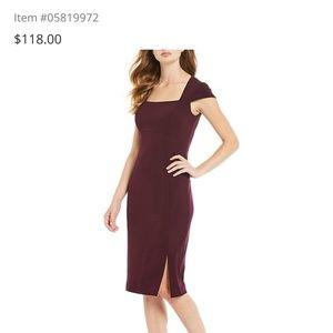 Calvin Klein burgandy cap sleeve dress